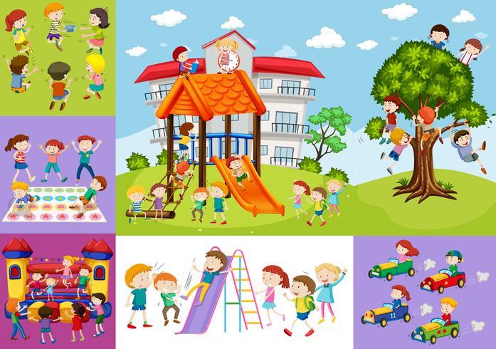 Kinderen vermaken op school en speeltuin