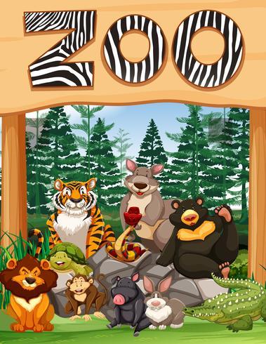 Entrada do zoológico com muitos animais selvagens sob o sinal