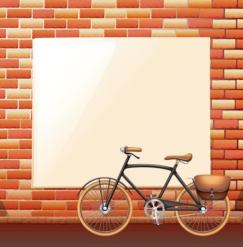 Blank board on brickwall