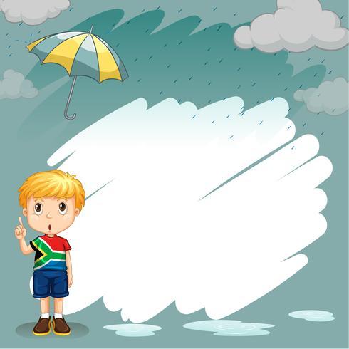 Grenzgestaltung mit Jungen im Regen