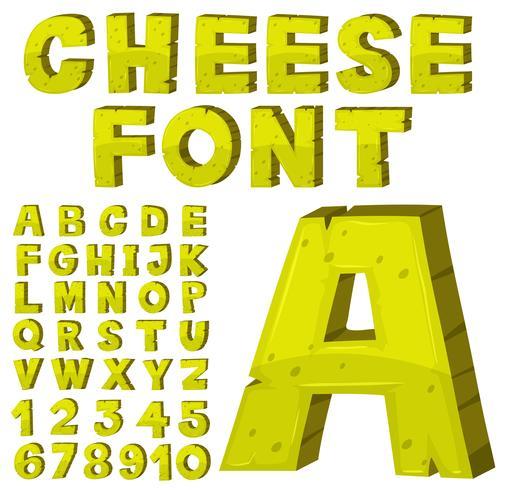 Schriftgestaltung für englische Alphabete in gelb