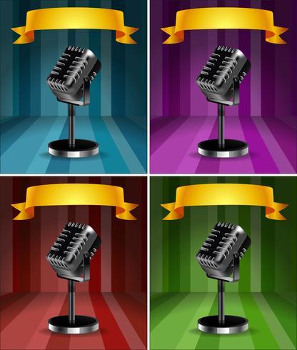 Microfones em quatro cores de fundo