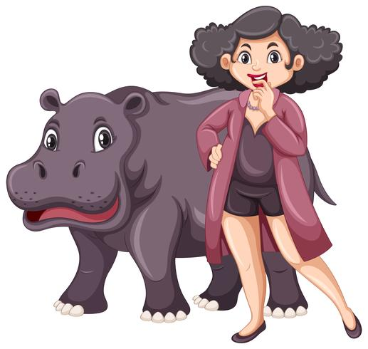 Hippo and chubby woman on white background