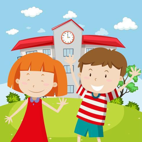 School scene with two happy kids