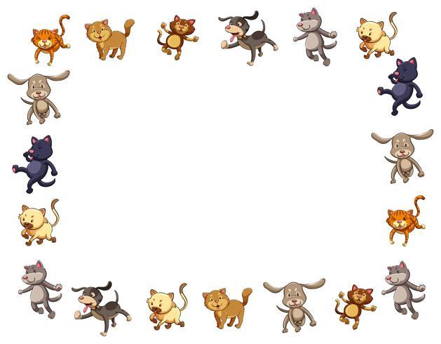 Modelo de fronteira com gatos e cachorros fofos