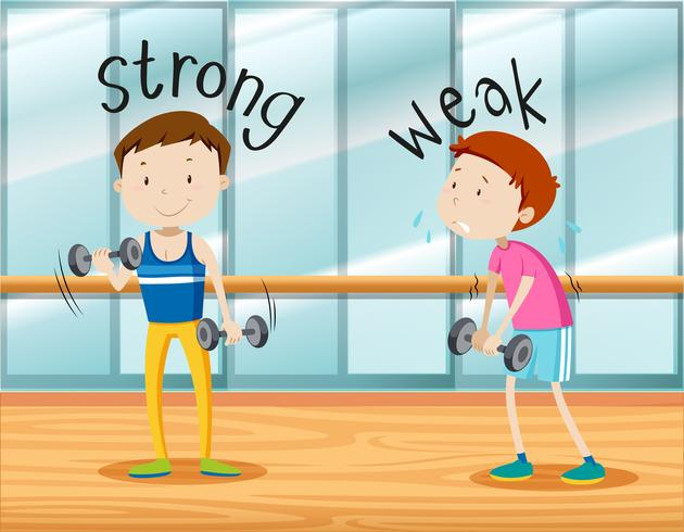 Opposite words for strong and weak