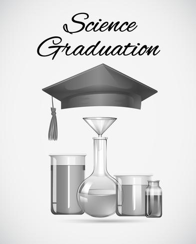 Science graduation sign with graduation cap and science equipments