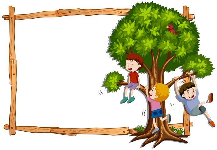 Kadermalplaatje met jonge geitjes die de boom beklimmen