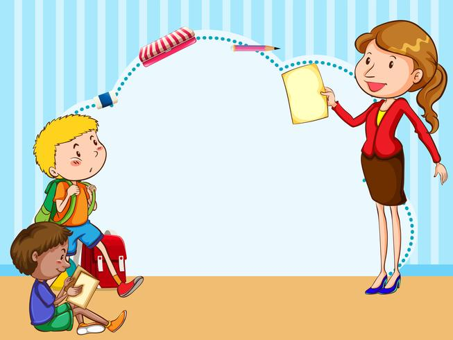 Border template with kids and teacher - Download Free ...