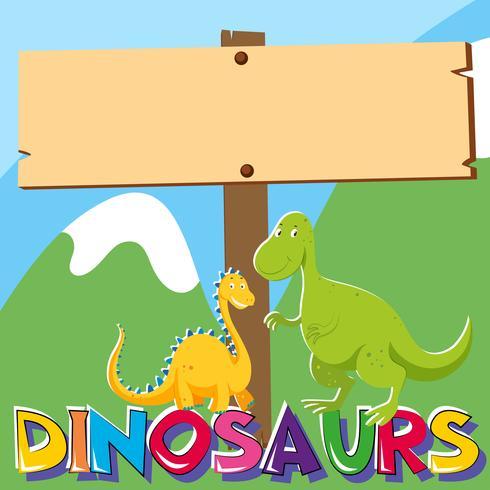 Segno di legno con due dinosauri