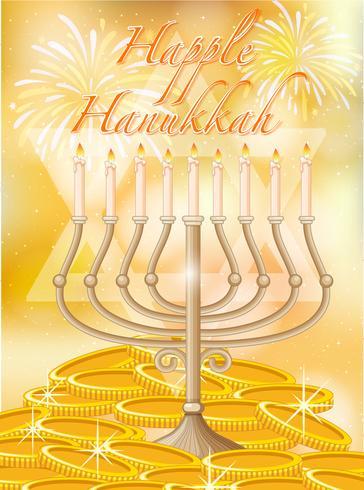 Feliz Hanukkah con velas y oro.