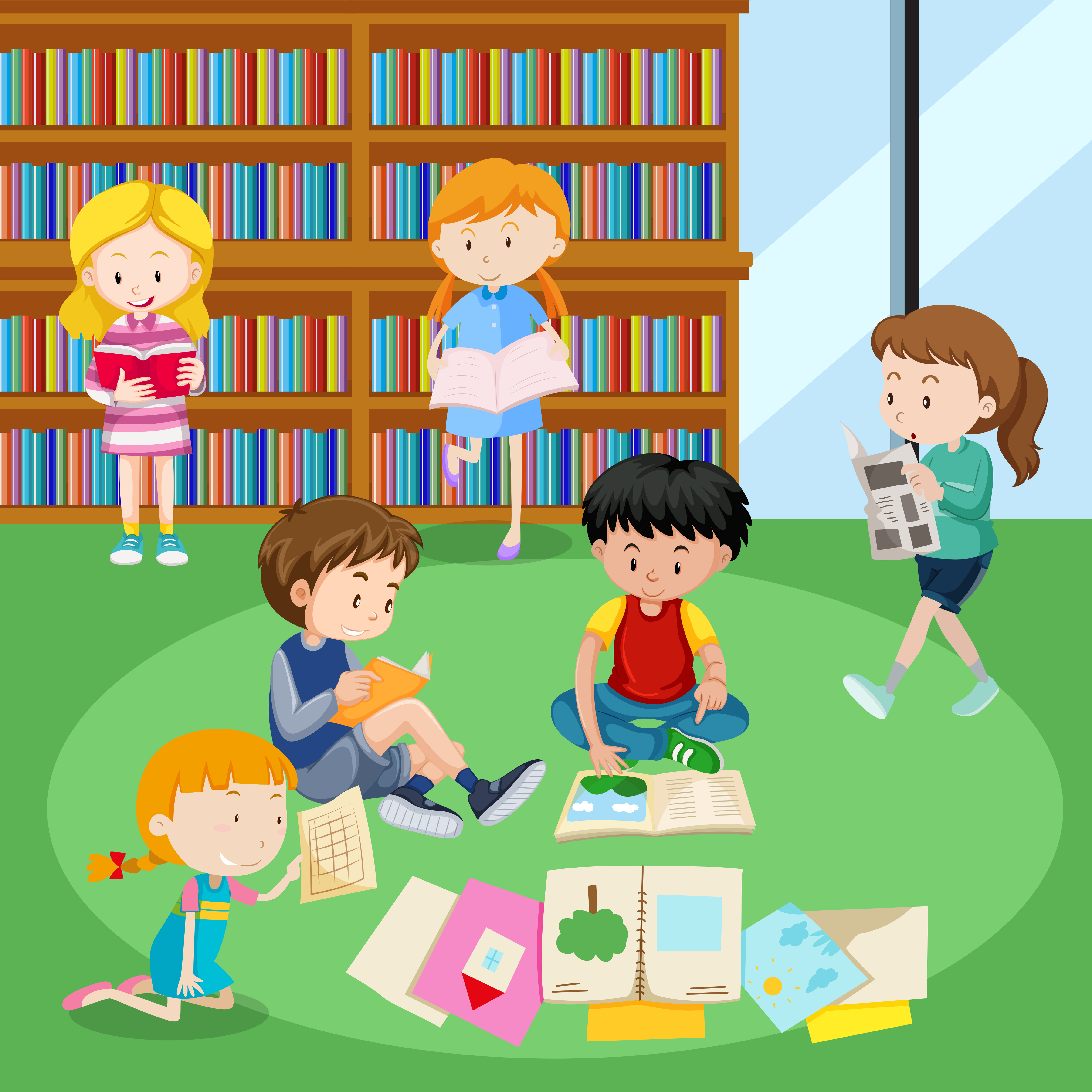 Students reading books in library - Download Free Vectors ...