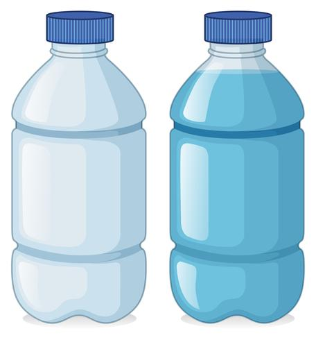 Deux bouteilles avec et sans eau