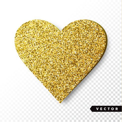 Corazón de destellos de oro