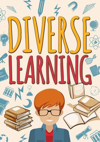 Póster de aprendizaje diverso con alumno y libros.
