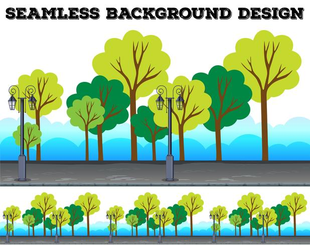 Seamless background design with trees and lamps vector