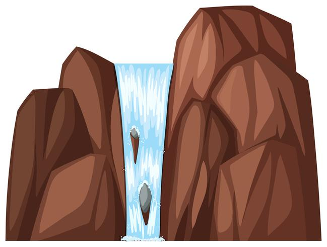 Waterfall coming down the brown rocks