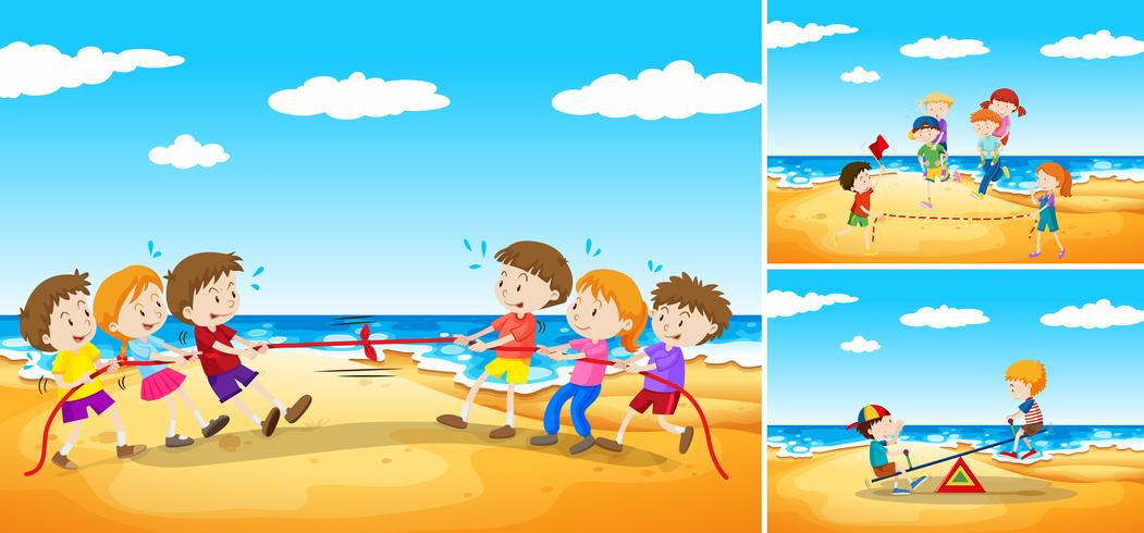 Children playing games on the beach