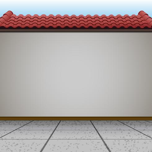 Scena con muro e tetto rosso