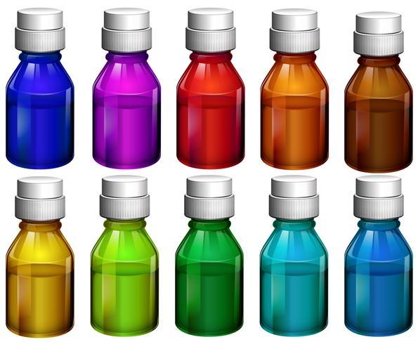 Botellas de medicina de colores