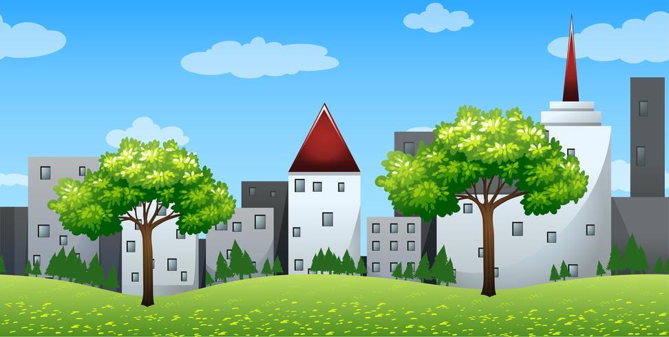 Plano de fundo sem emenda com edifícios nas colinas