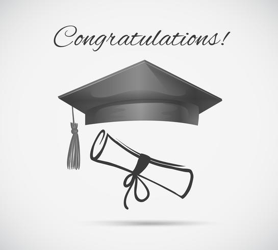 Congratulations card template with graduation cap