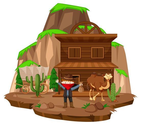 Cidade de vaqueiro com ladrão e camelo