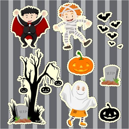 Sticker set for kids in halloween costumes