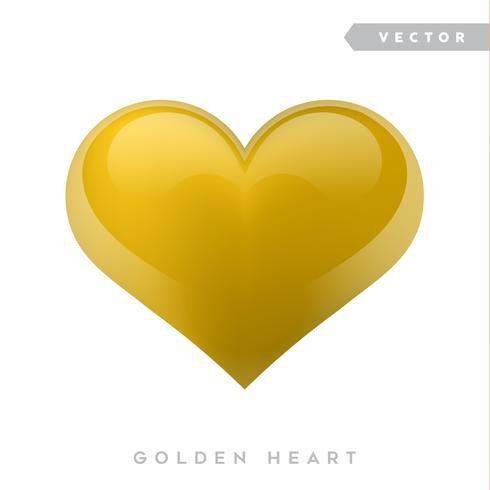Coração de efeito realista de ouro. Ilustração vetorial Coração realista, isolado. - vetor
