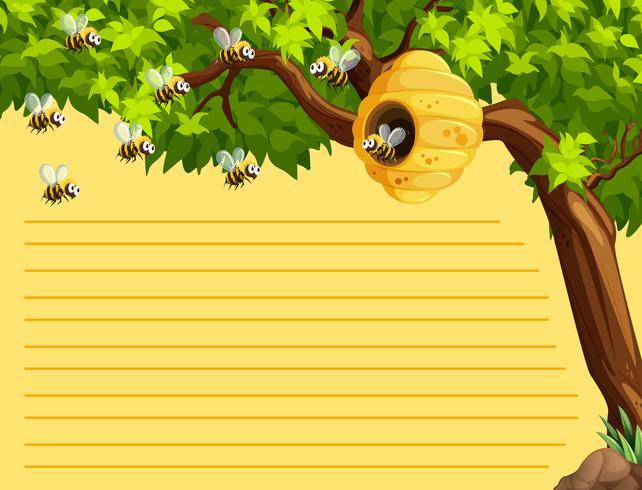 Lijn papieren sjabloon met bijen vliegen