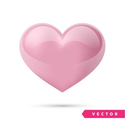 Coração de efeito-de-rosa realista. Ilustração vetorial Coração realista, isolado. - vetor