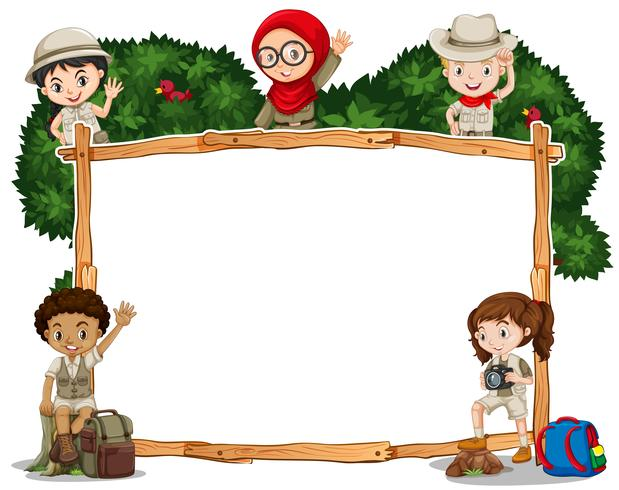 Border template with kids in safari costume vector