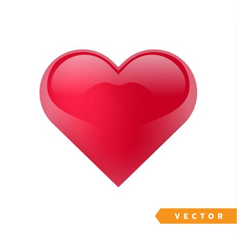 Realistic red valentine heart. Vector illustration