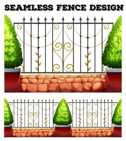 Seamless metall staket design med buskar