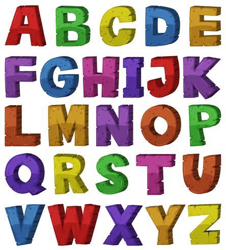 Diseño de fuentes para alfabetos ingleses.