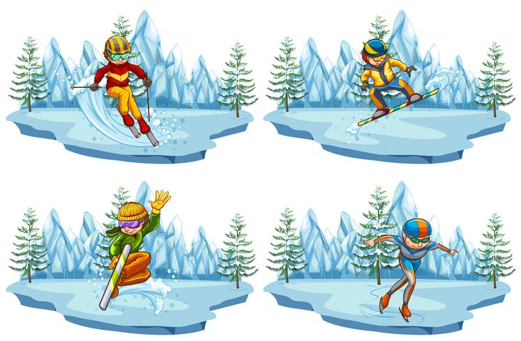 Four scenes with people playing ski and snowboarding vector