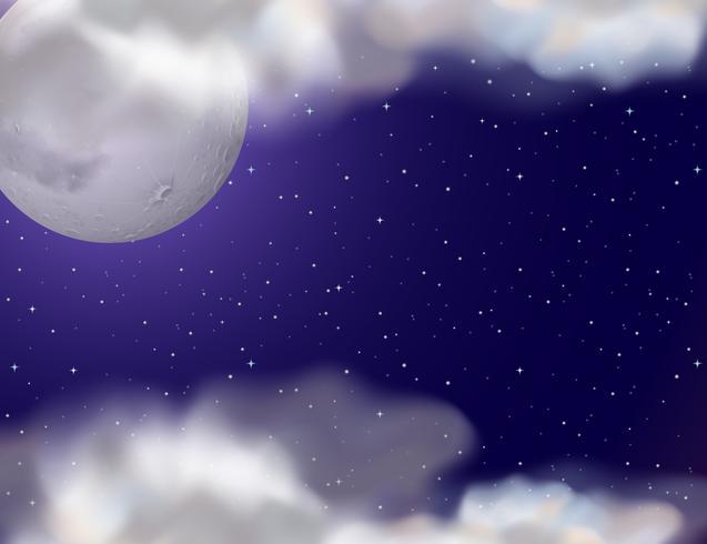Escena nocturna con luna llena y estrellas.