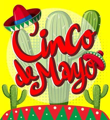 Cinco de Mayo card template with cactus plants
