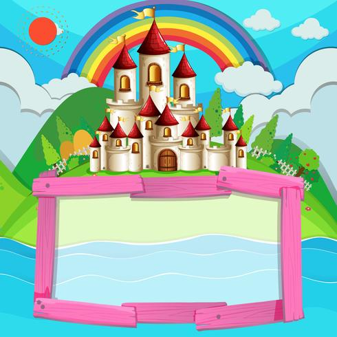 Frame design with castle and rainbow