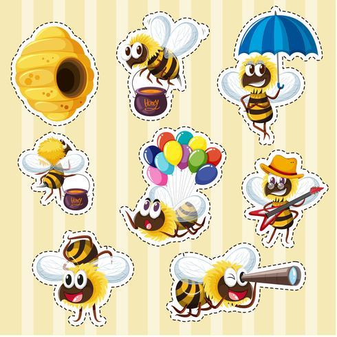 Aufkleberentwurf mit Bienen und Bienenstock