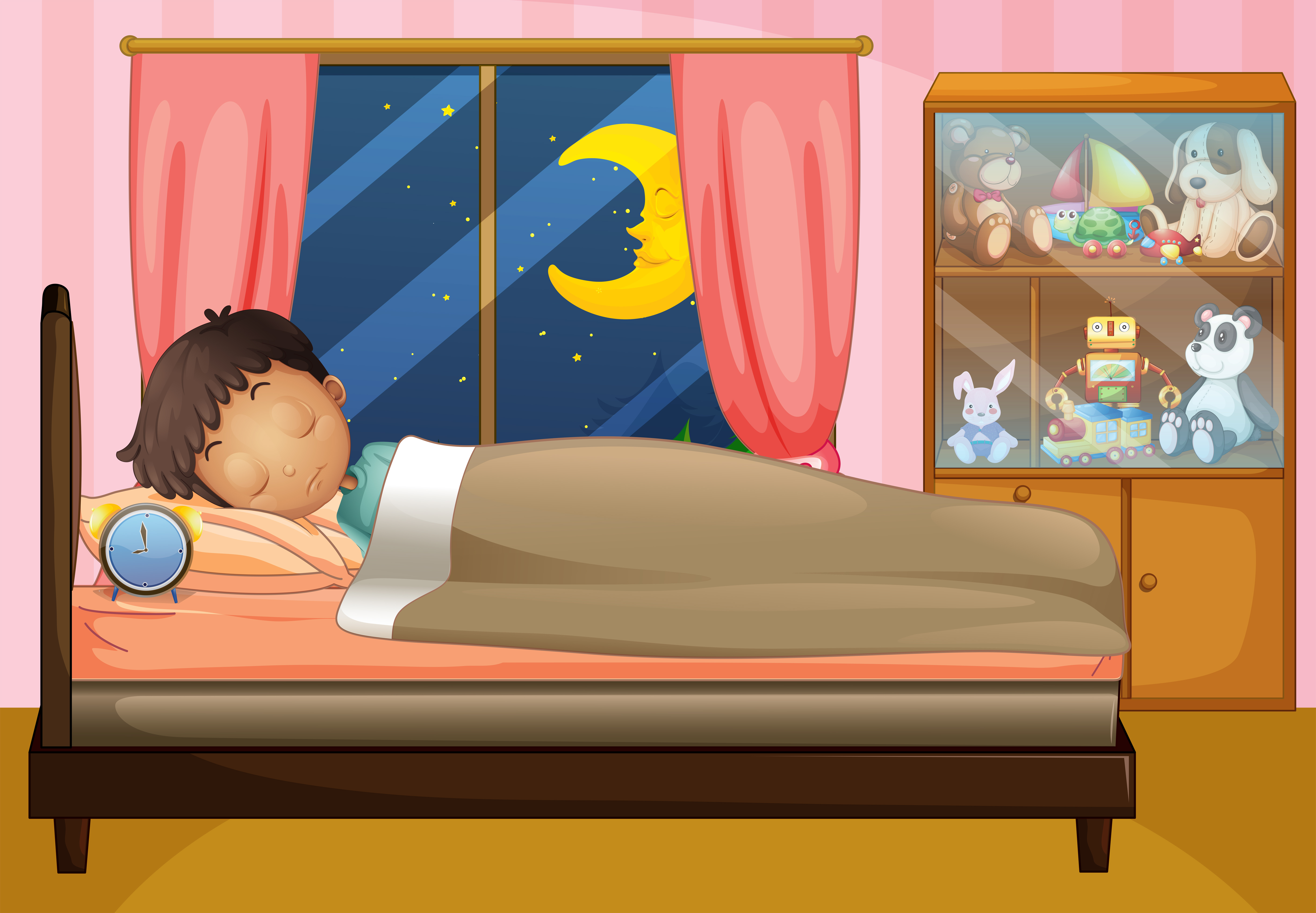 Boy sleeping in his bedroom - Download Free Vectors