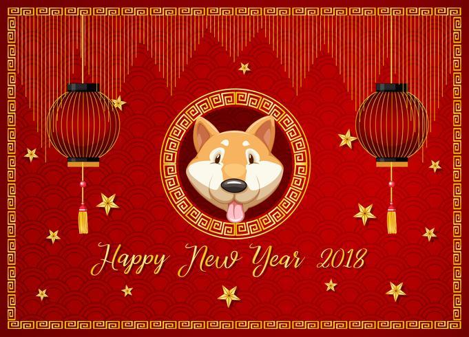 Nieuwjaars kaartsjabloon met hond en rode lantaarns