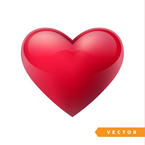 Coração dos namorados vermelho realista. Ilustração vetorial