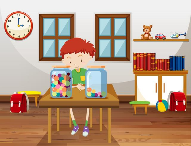 Boy and two jars with marbles in classroom vector