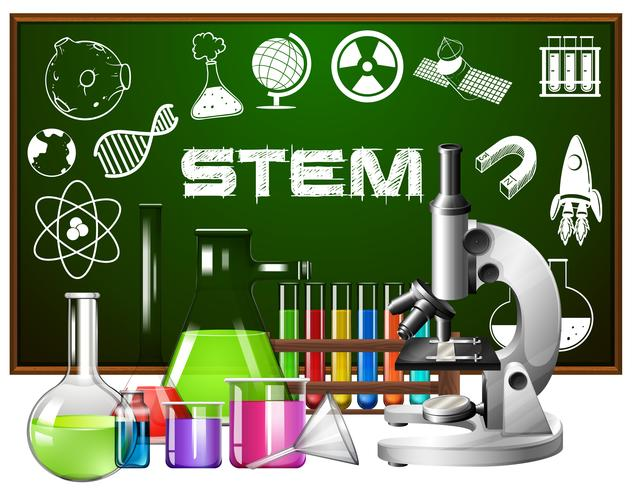 Poster design for stem education with science tools vector
