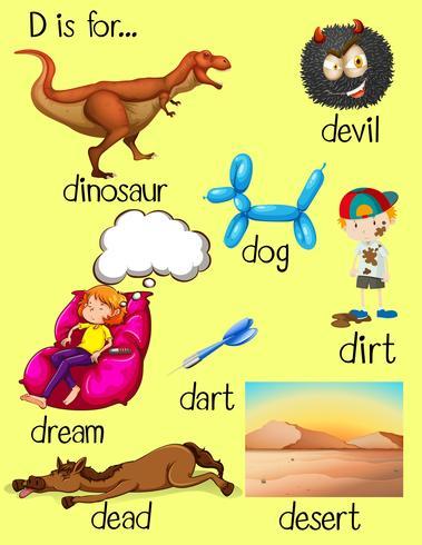 Alphabet D und viele Wörter