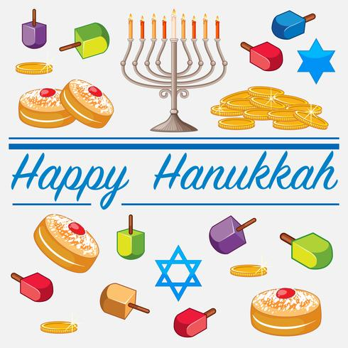 Modèle de carte Happy Hanukkah avec des aliments et des bougies