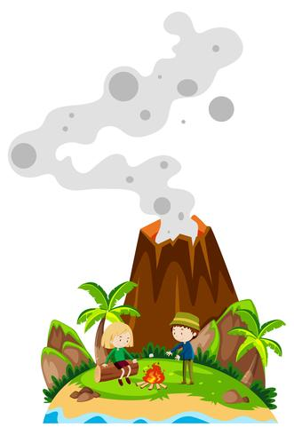 Gente acampando en la isla