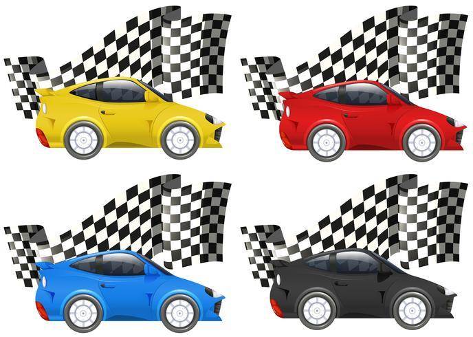 Carros de corrida em quatro cores vetor