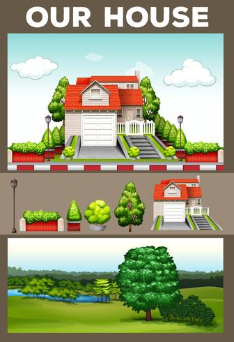 Scene con casa e parco vettore